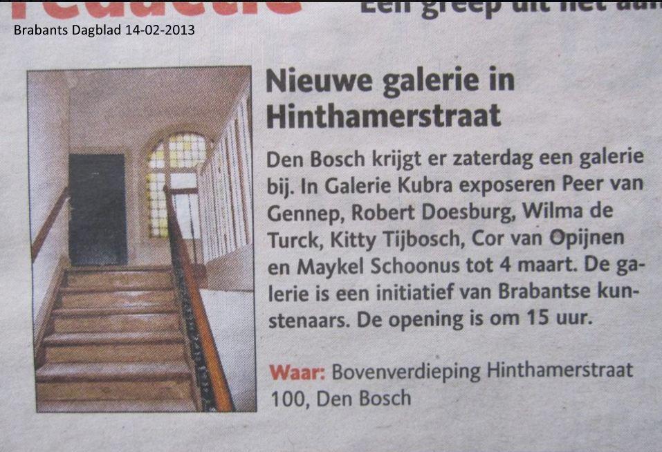 14 februari 2013 Brabants Dagblad vooraankondiging
