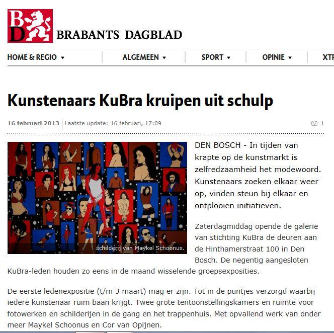 16 februari 2013 Brabants Dagblad digitaal Opening Galerie