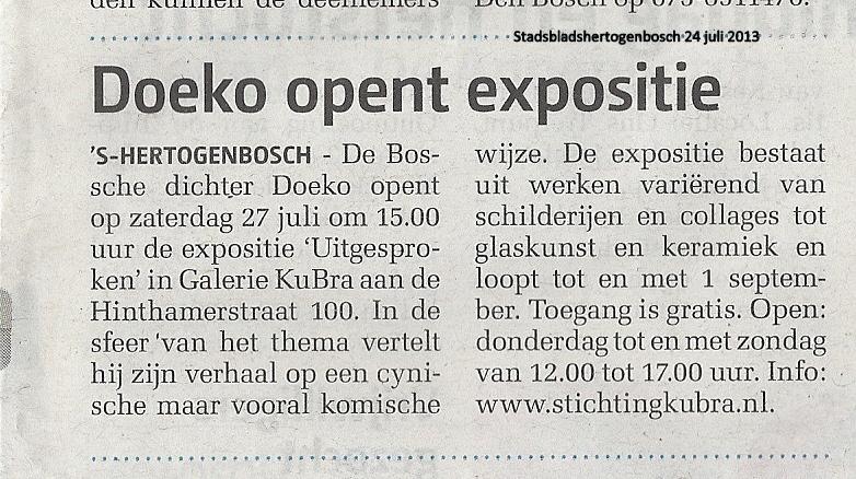 Publicatie Weekkrant Stadsblad 's-Hertogenbosch 24 juli 2013