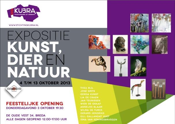 """3 t/m 13 oktober 2013 Stichting KuBra presenteert:""""Kunst, Dier en Natuur"""""""