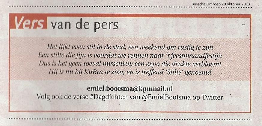 Publicatie Bossche Omroep 20 oktober 2013